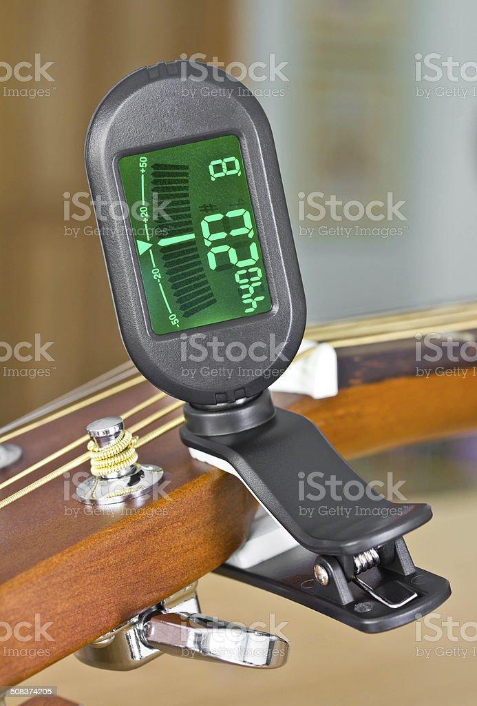 Tuner Guitar sound equipment. stock photo