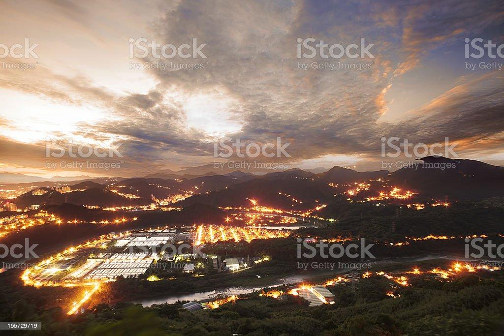 Tung Wah Shing Temple Sunrise, Taiwan royalty-free stock photo
