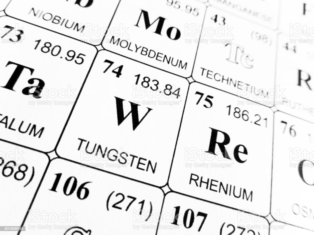 Tungsten on the periodic table of the elements stock photo