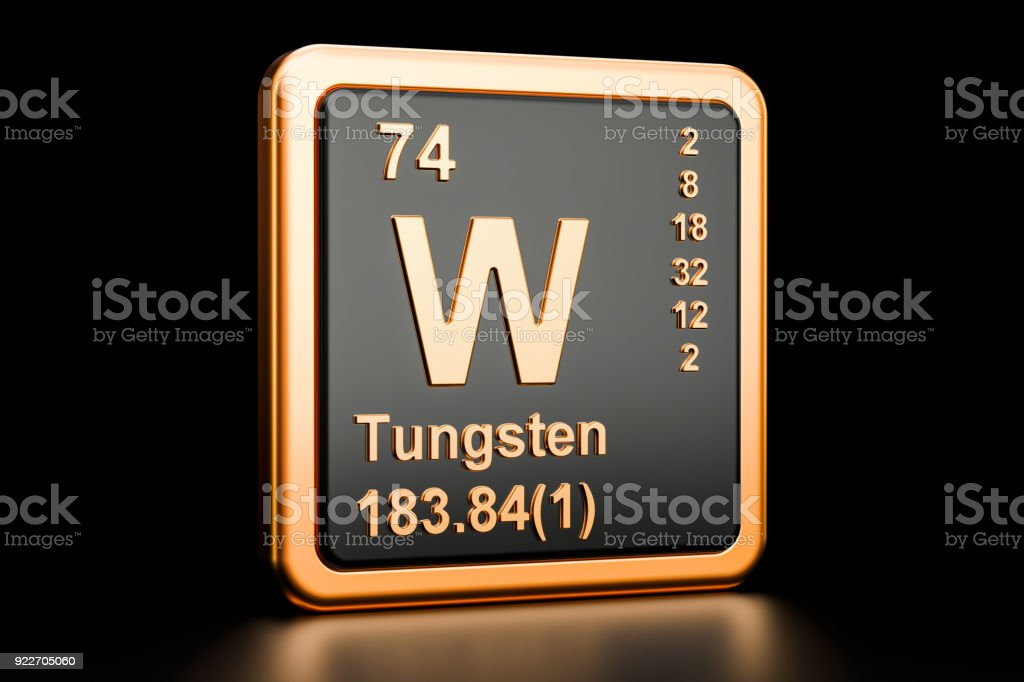 Tungsten W Wolfram Chemical Element 3d Rendering Isolated On Black