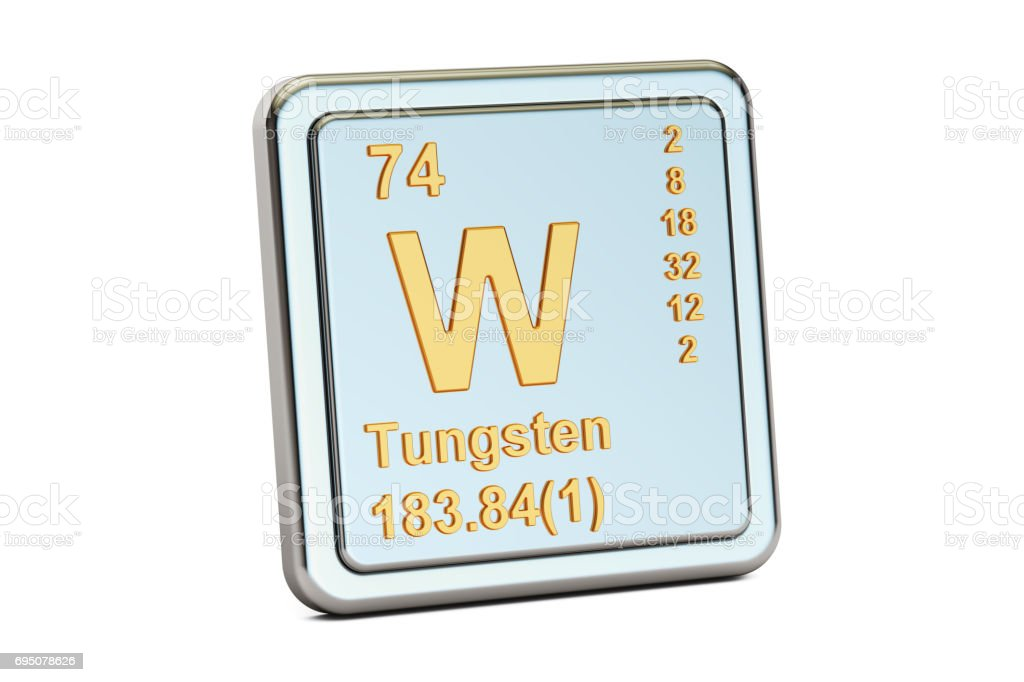 Tungsten W Wolfram Chemical Element Sign 3d Rendering Isolated On