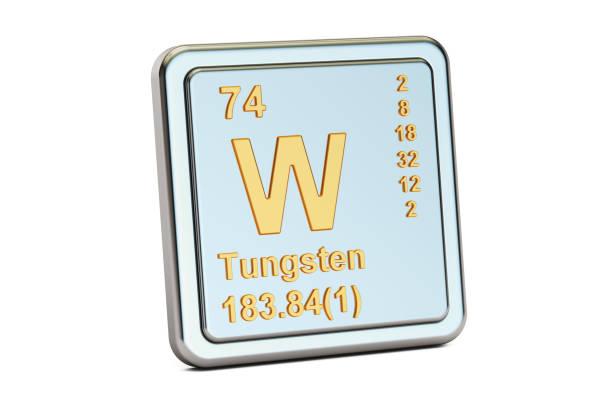 Tungstène W, signe de wolfram élément chimique. Rendu 3D isolé sur fond blanc - Photo