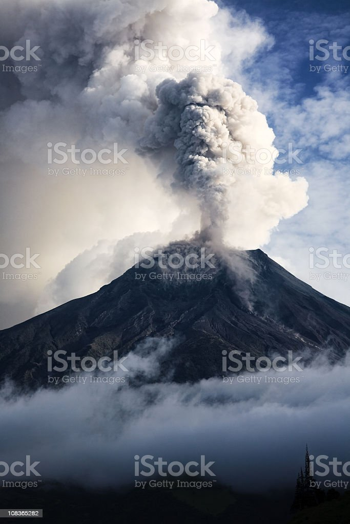 Tungurahua volcanic eruption with smoke and ash stock photo