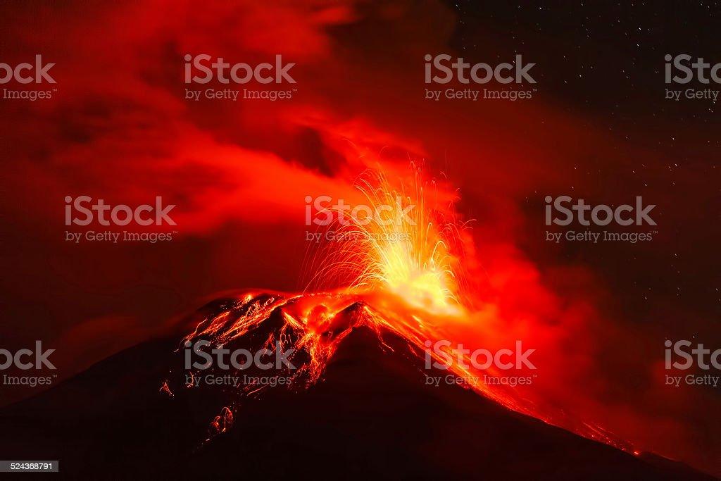 Tungurahua Volcano At Night, South America stock photo