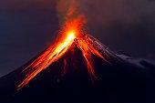 istock Tungurahua Volcano eruption long exposure with lava 177363117