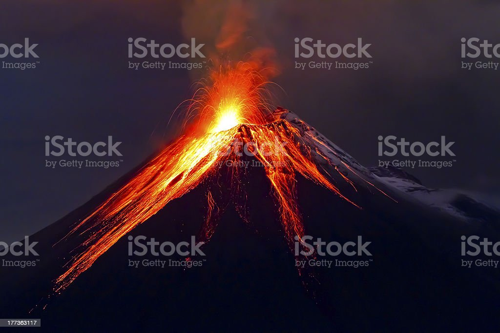 Tungurahua Volcano eruption long exposure with lava stock photo