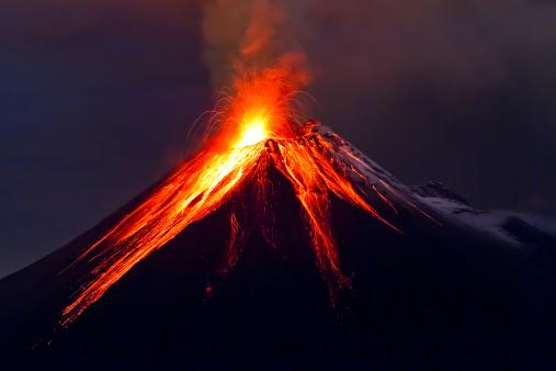 Tungurahua Volcano Eruption Long Exposure With Lava Stock Photo - Download Image Now