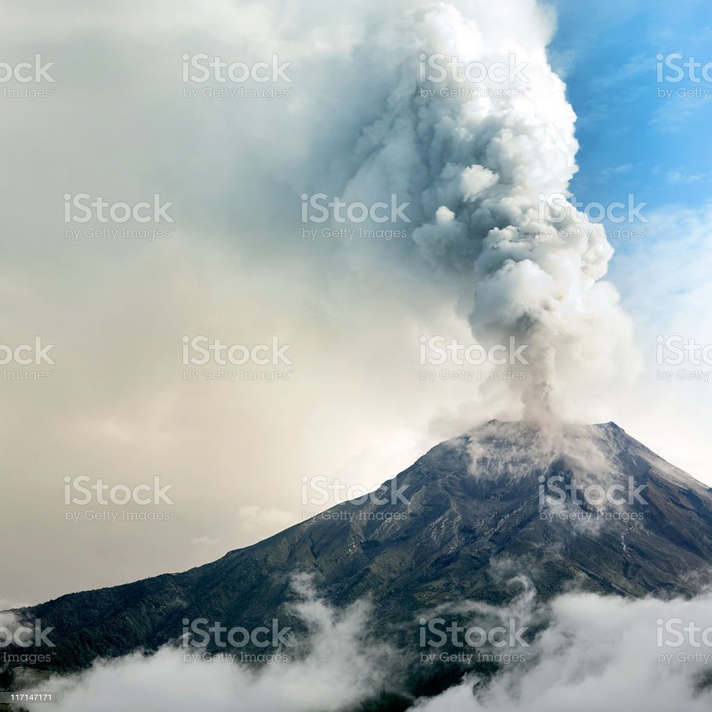 Tungurahua volcano eruption stock photo