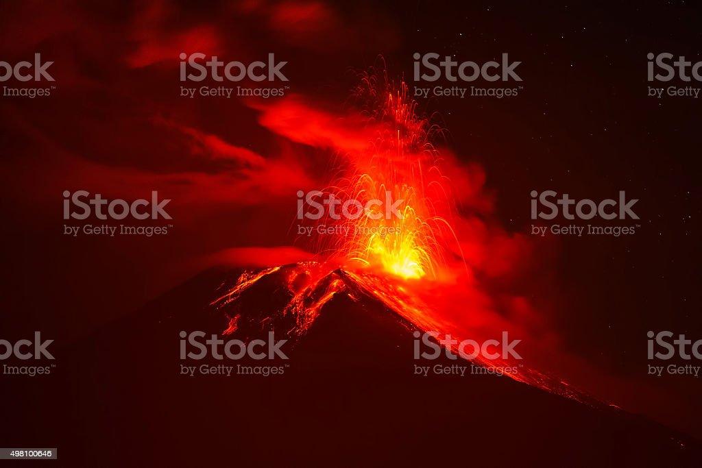 Tungurahua Volcano Night Explosion stock photo