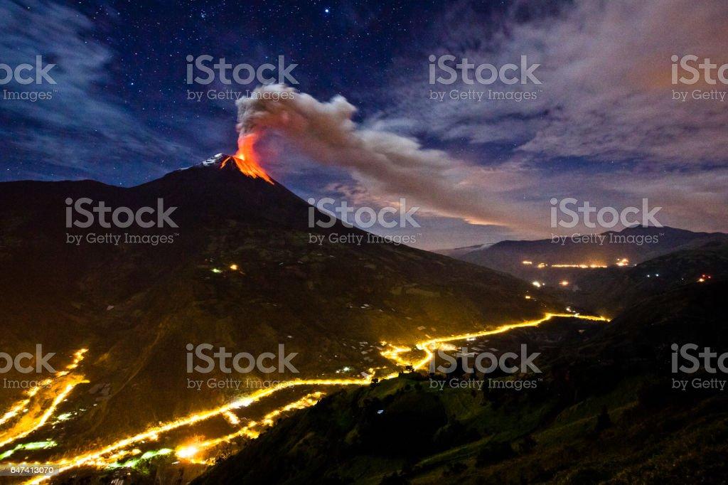 Tungurahua volcano stock photo