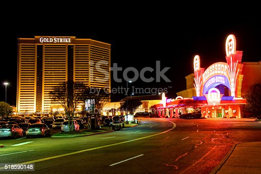 Tunica, Mississippi, USA - March 28, 2016: Gold strike and Horseshoe casino hotels along the Tunica Casino Strip Boulevard at night.