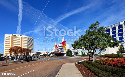 Tunica, Mississippi, USA - March 29, 2016: Gold strike and Horseshoe casino hotels along the Tunica Casino Strip Boulevard during the day.