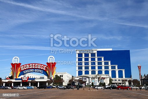 Tunica, Mississippi, USA - March 29, 2016: Horseshoe Casino Hotel situated in the entertainment district along the Tunica Casino Strip Boulevard during the day.
