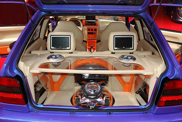 Tuning car loudspeaker. stock photo