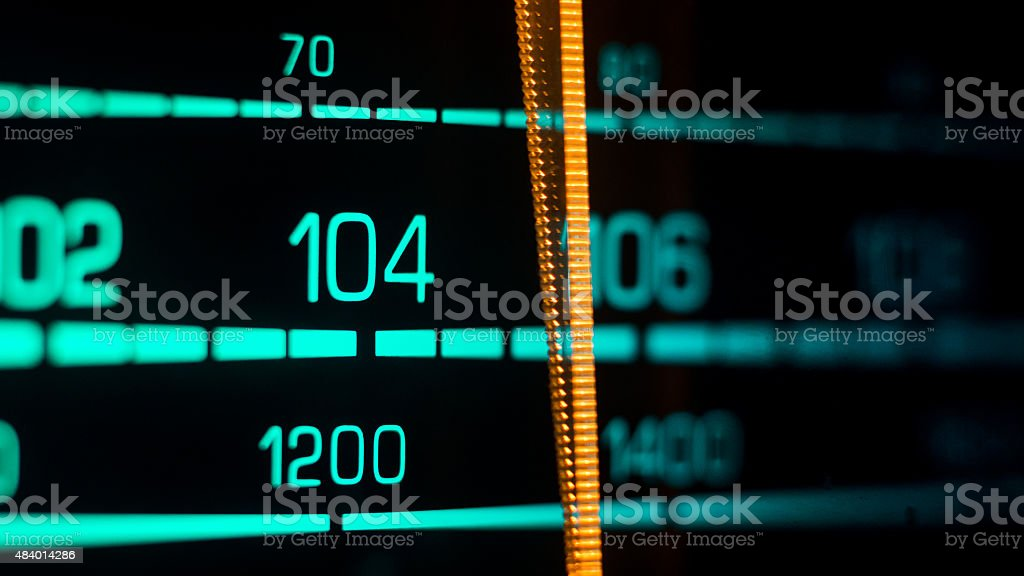 Tuning into 104FM, 1200Khz AM stock photo
