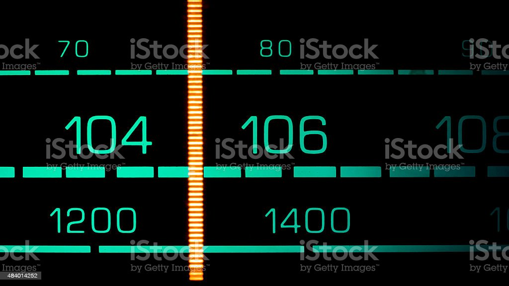 Tuning into 105FM on an old 70s radio receiver stock photo