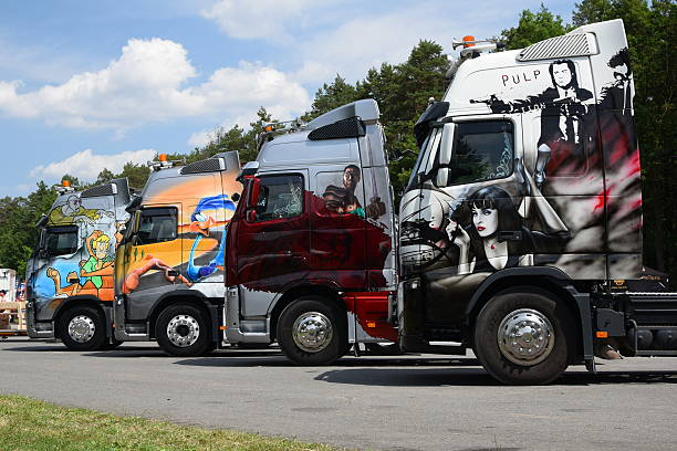 tuning trucks on the motor show - volvo trucks bildbanksfoton och bilder