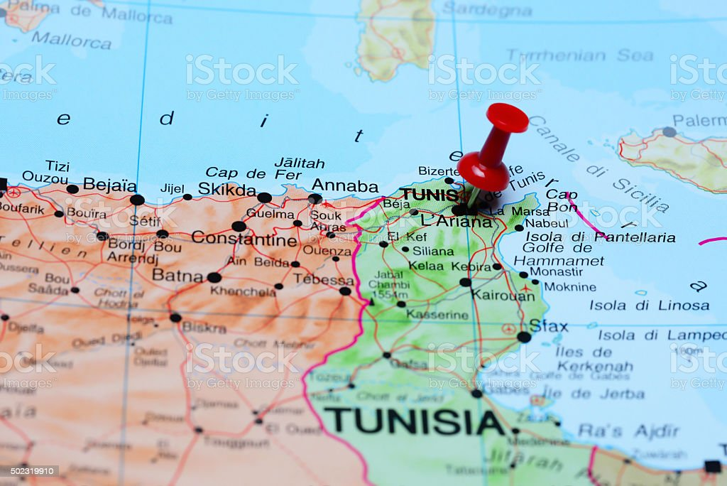 Tunis pinned on a map of Africa stock photo