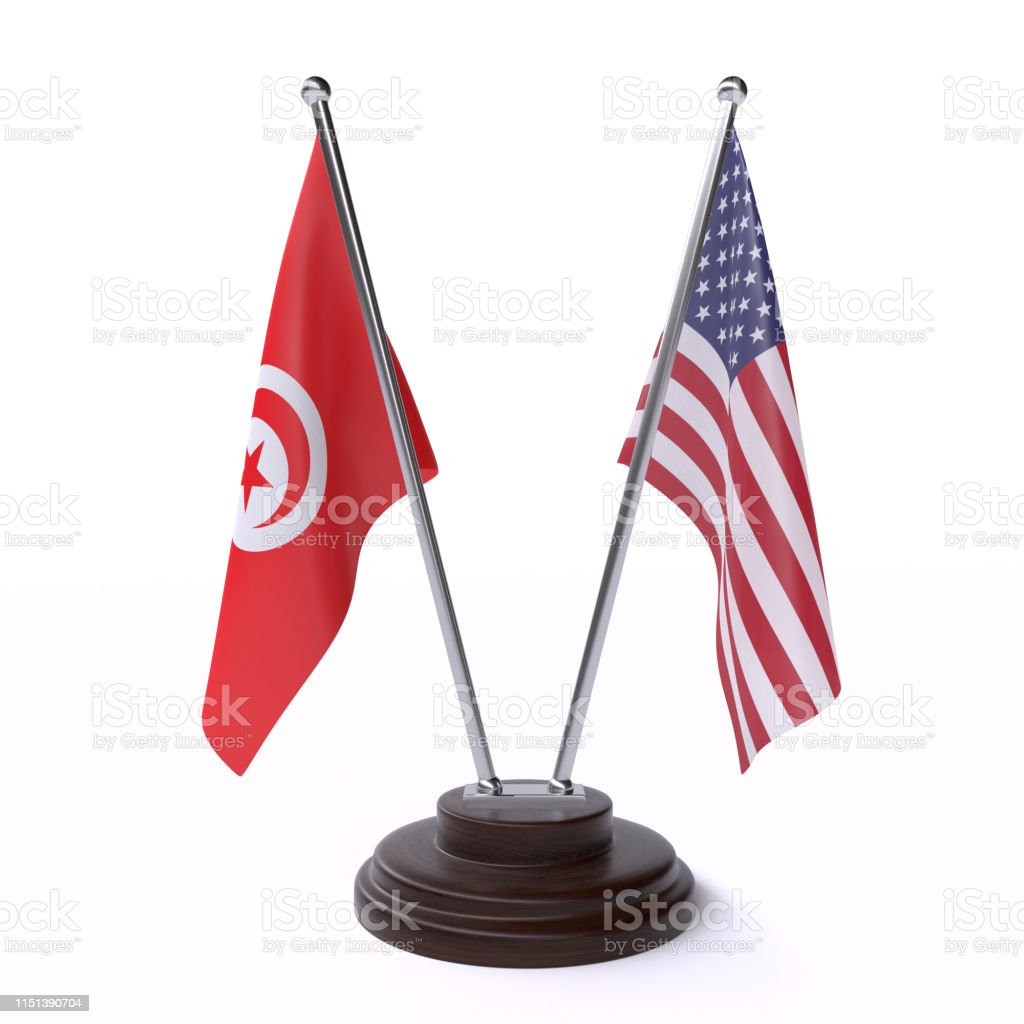 Tunisia And Usa Two Table Flags On White Background Stock Photo Download Image Now Istock