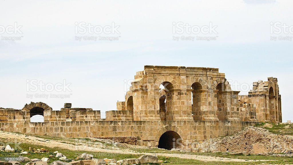 Tunisia: Carthage Amphitheater External Walls stock photo