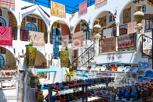 Tunisia. (Southern Tunisia). Island of Djerba. Houmt Souk. June 29, 2019. Souvenir shop for tourists in the Medina