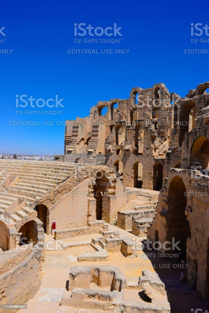 Tunisia - El Jem or El Djem coliseum ruins. This Roman Empire...