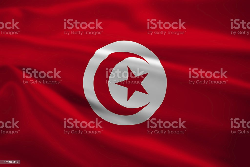 Tunisia flag blowing in the wind stock photo