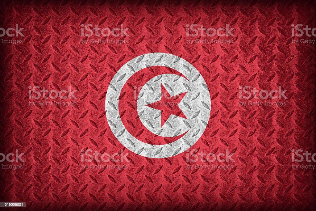 Tunisia Flag Pattern On The Diamond Metal Plate Texture Stock Photo Download Image Now Istock