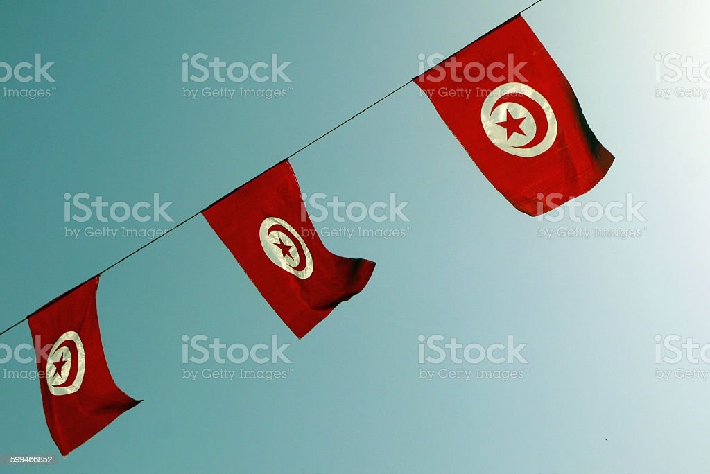 Tunisia flags. TUNISIA. stock photo
