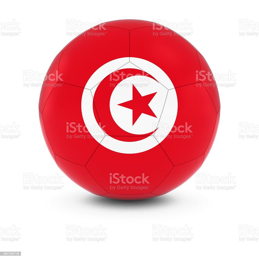Tunisia Football - Tunisian Flag on Soccer Ball stock photo