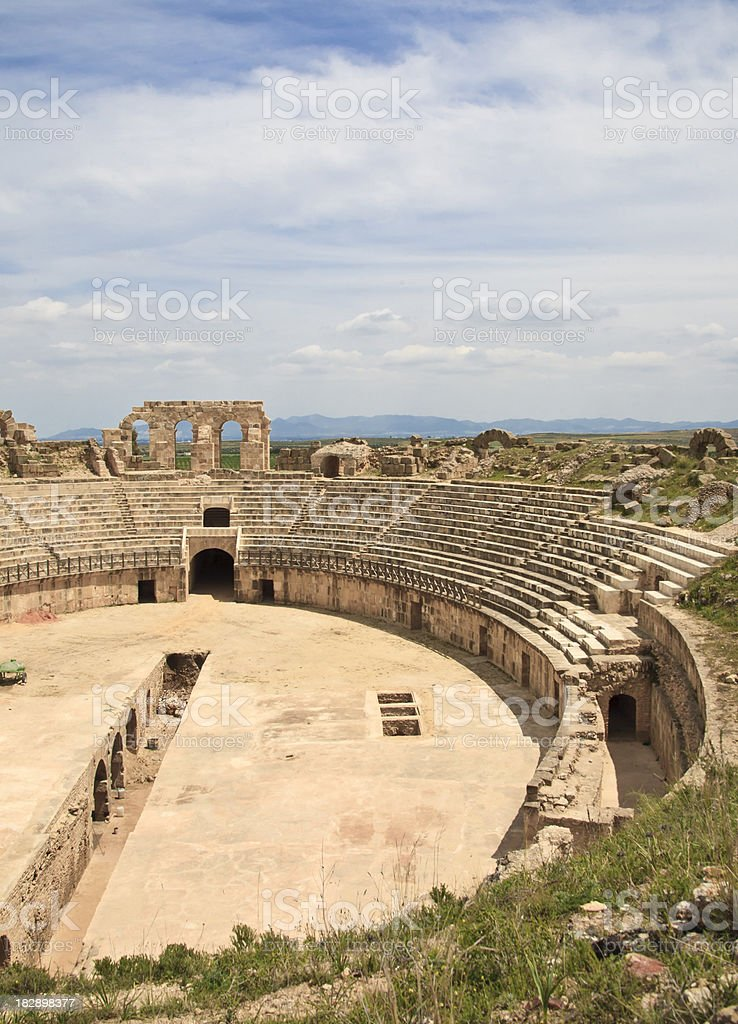 Tunisia: Old Roman Colosseum at Carthage stock photo