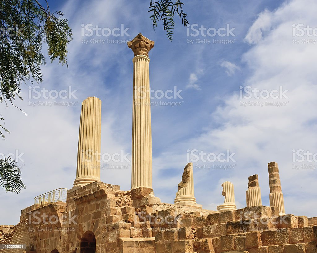 Tunisia: Reconstruction of Old Columns at Carthage stock photo