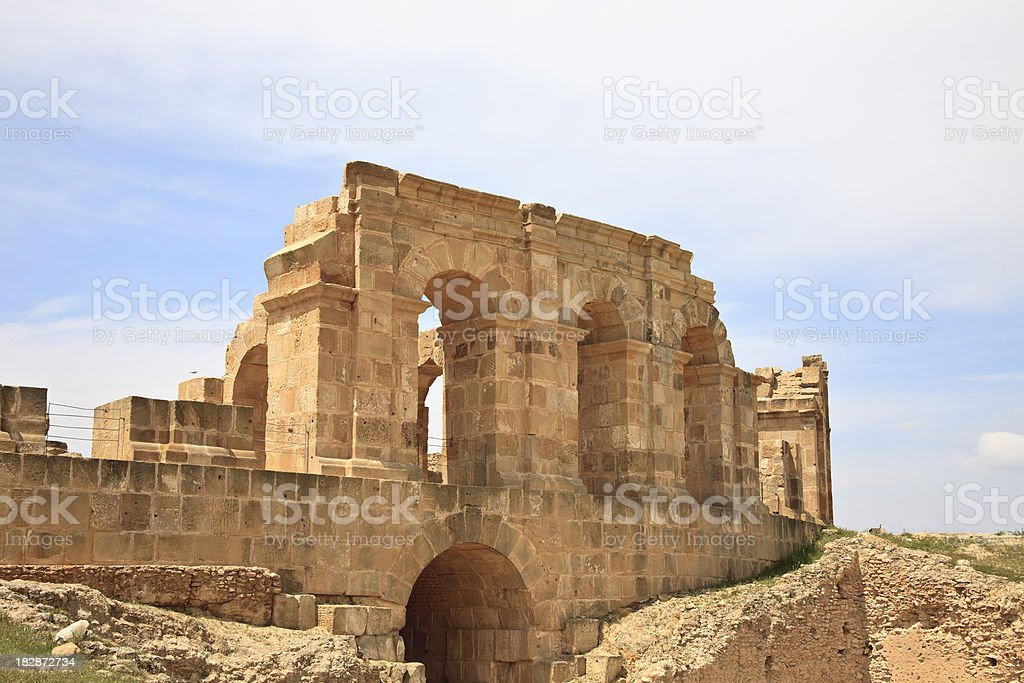 Tunisia: Remnant Wall of the Colisseum at Carthage stock photo