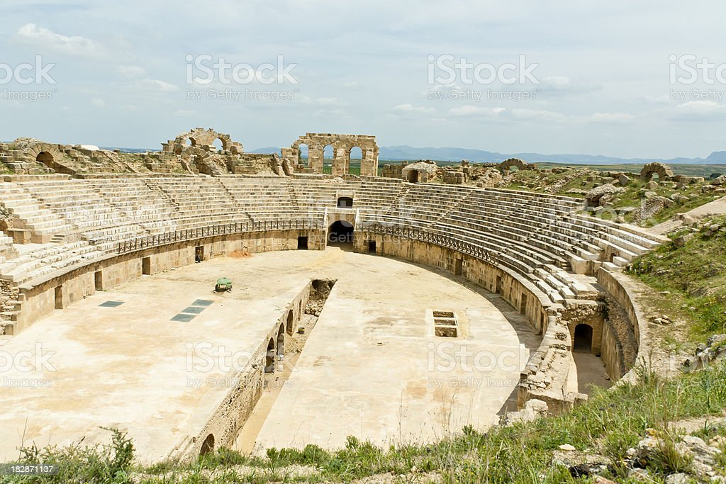 Tunisia: Roman Amphitheater at Carthage stock photo