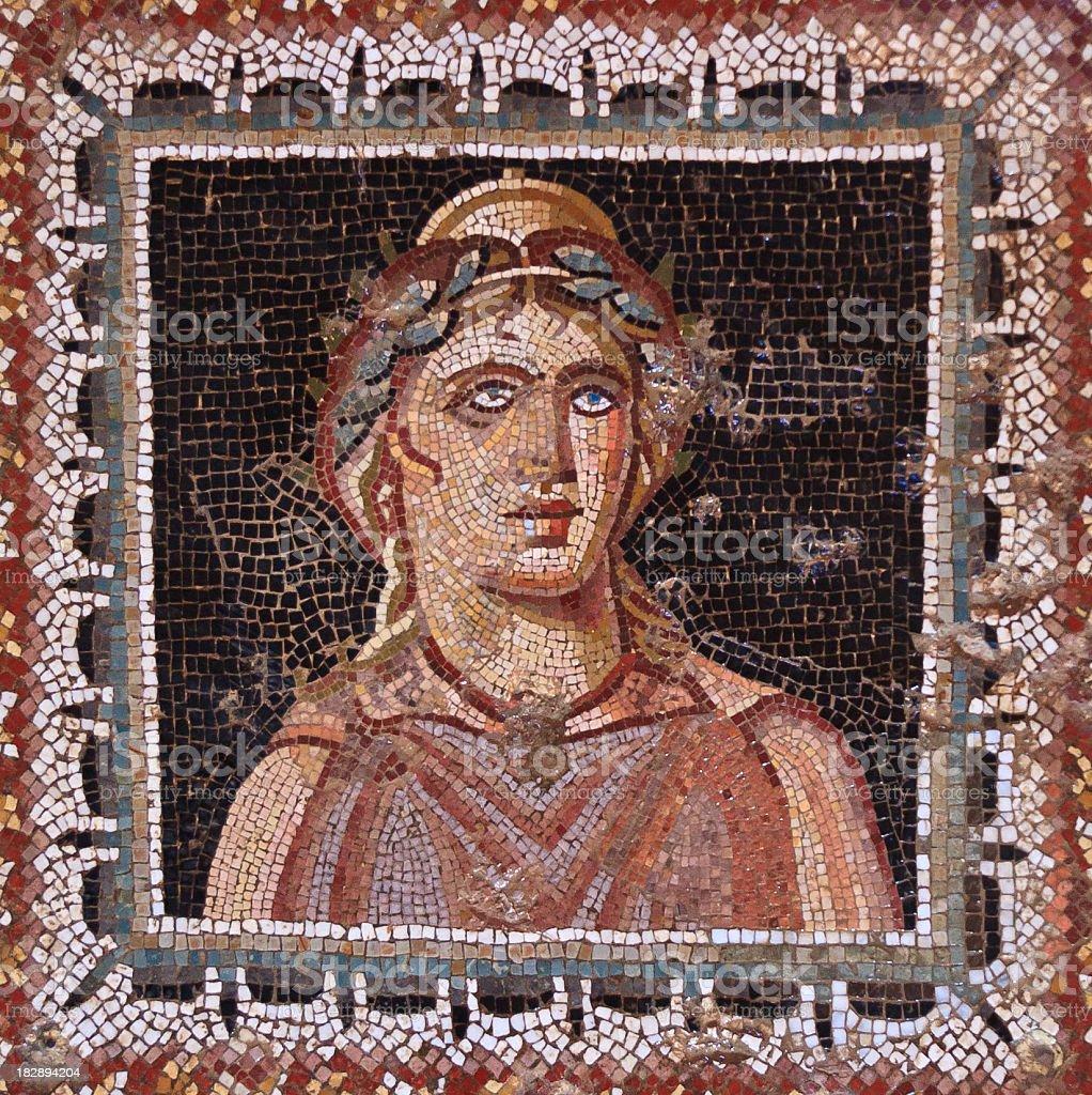 Tunisia: Roman Mosaic Face in Bulla Regia royalty-free stock photo
