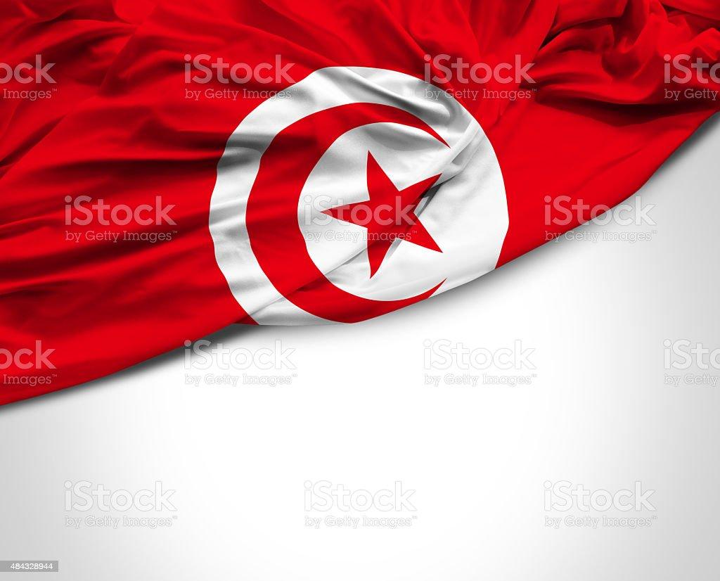 Tunisia waving flag on white background stock photo