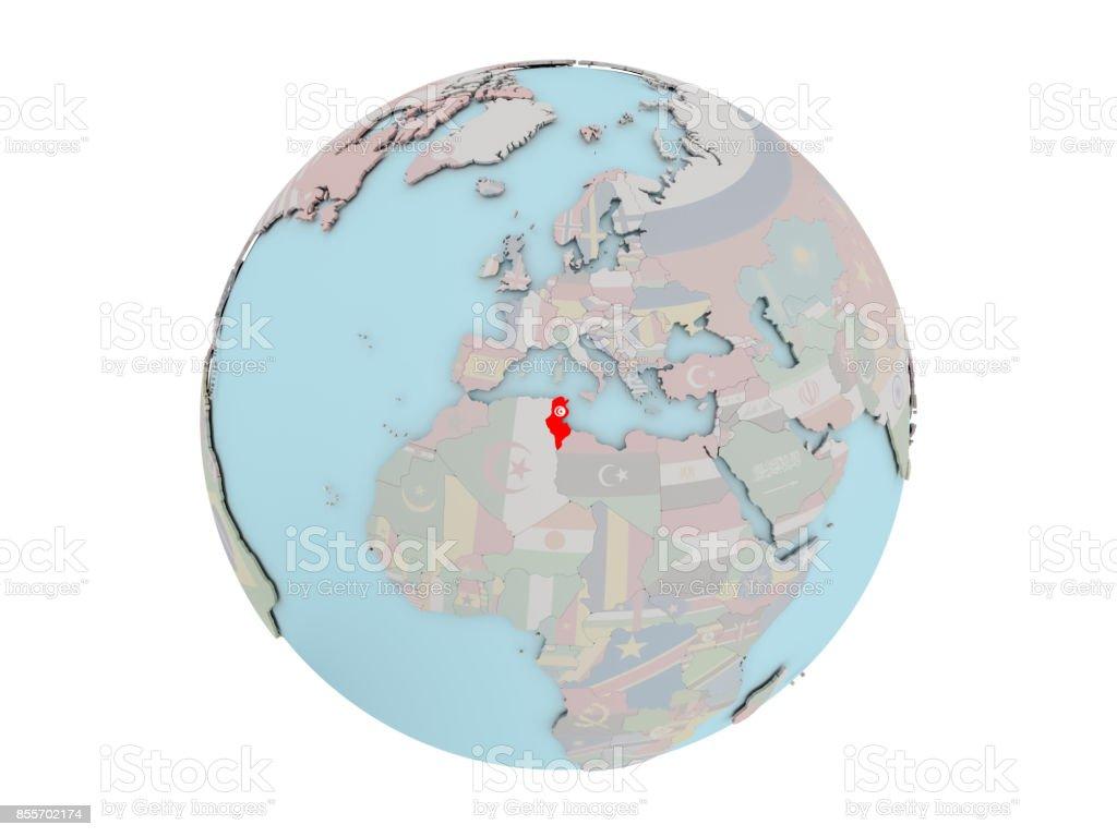 Tunesien Karte Welt.Tunesien Mit Flagge Auf Der Ganzen Welt Stockfoto Und Mehr Bilder