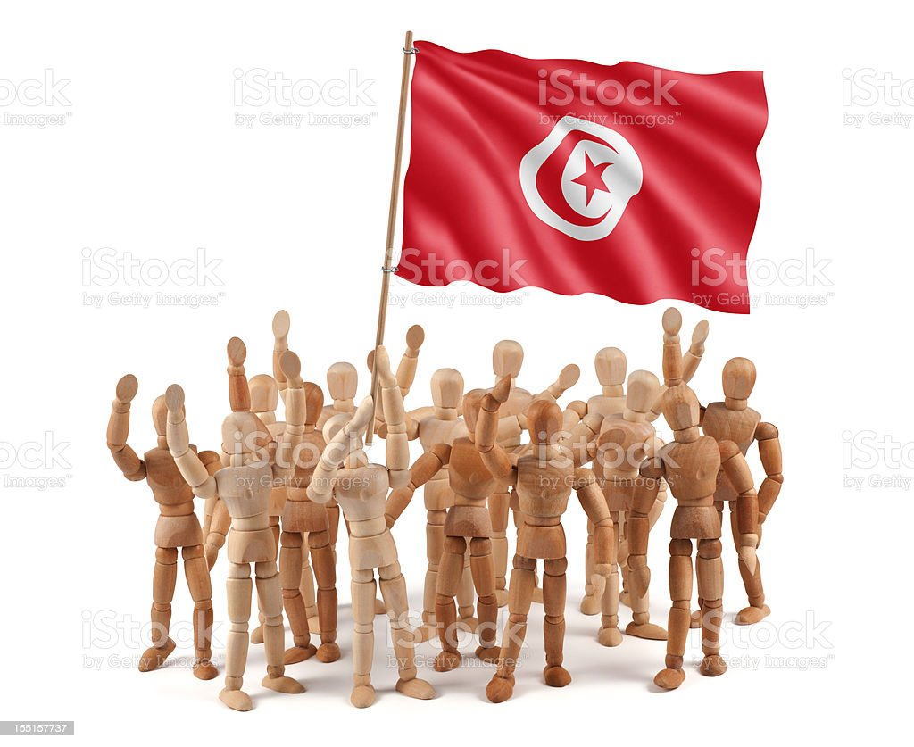 Tunisia - wooden mannequin group with flag royalty-free stock photo