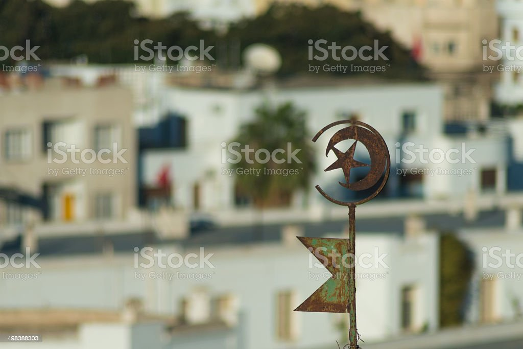 Tunisian Emblem on Roof (4) Symbol of Tunisia with Buildlings in Background Africa Stock Photo