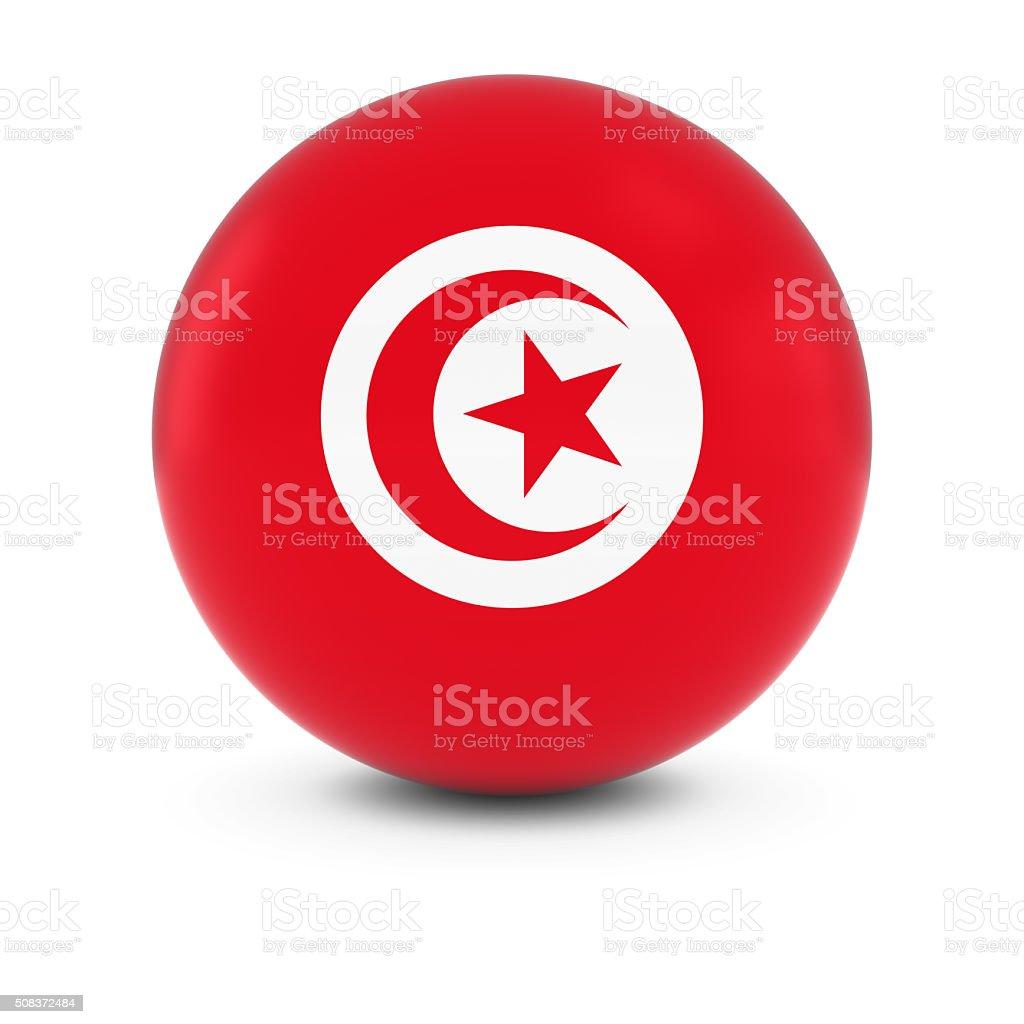 Tunisian Flag Ball - Flag of Tunisia on Isolated Sphere stock photo