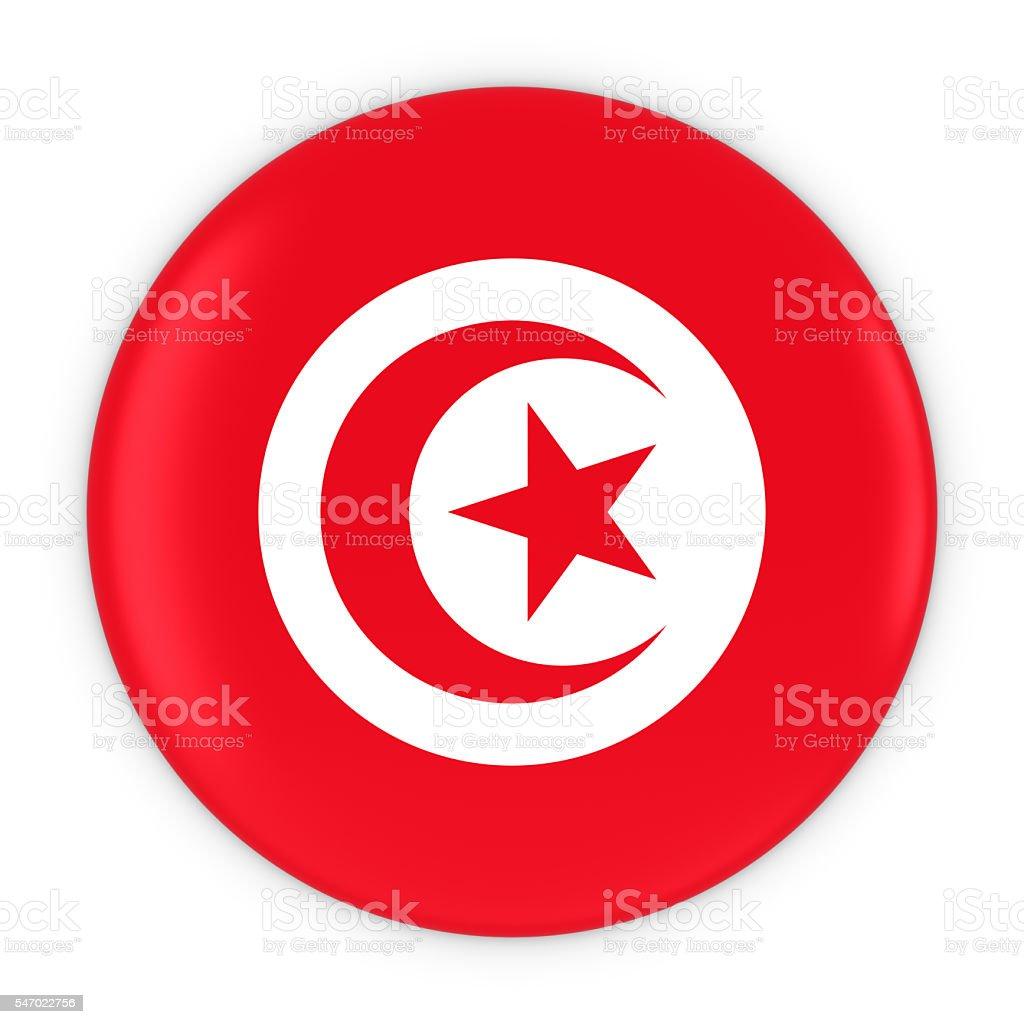 Tunisian Flag Button - Flag of Tunisia Badge 3D Illustration stock photo
