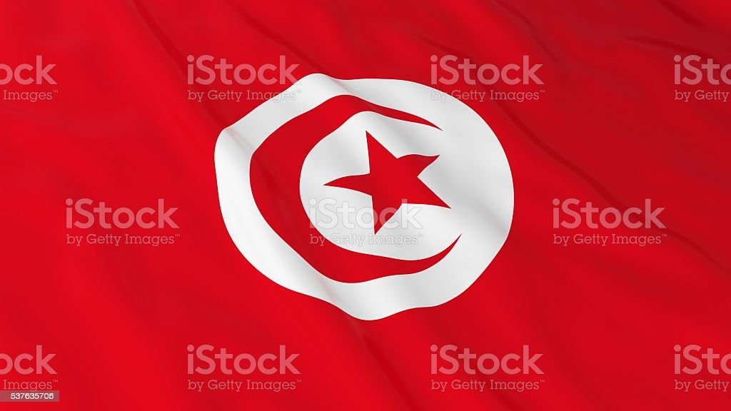 Tunisian Flag HD Background - Flag of Tunisia 3D Illustration stock photo