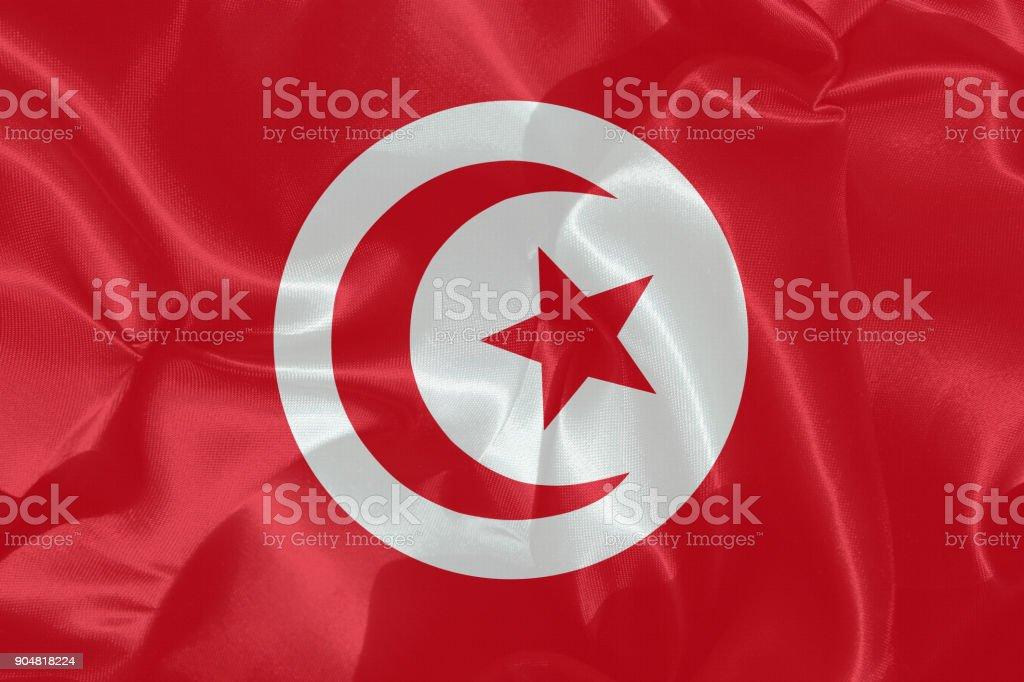 Tunisian flag in satin stock photo