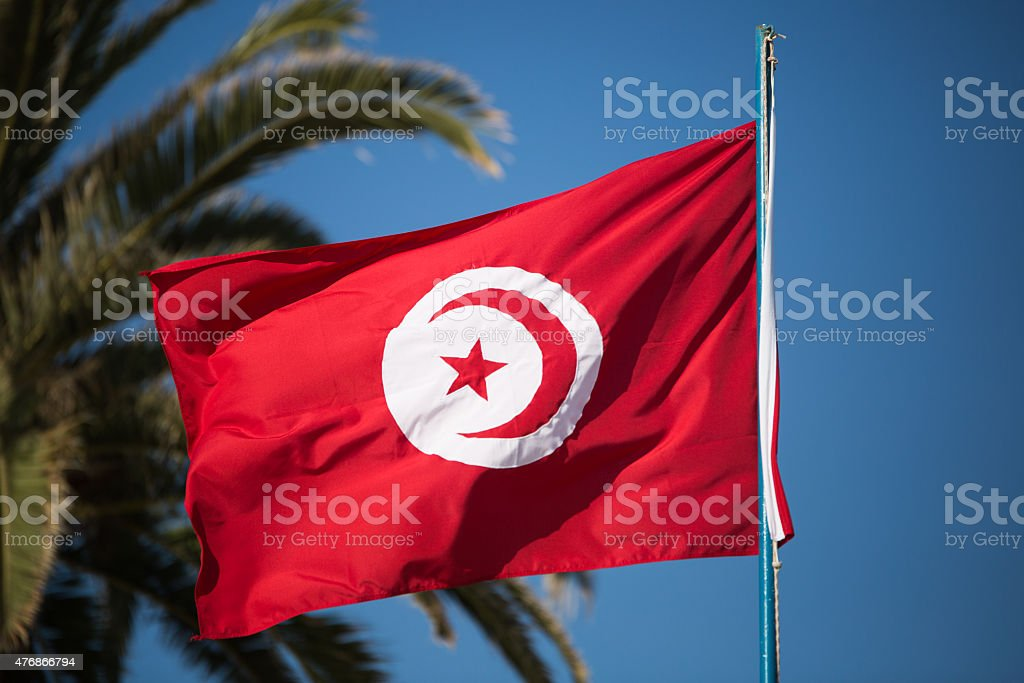 Tunisian flag stock photo