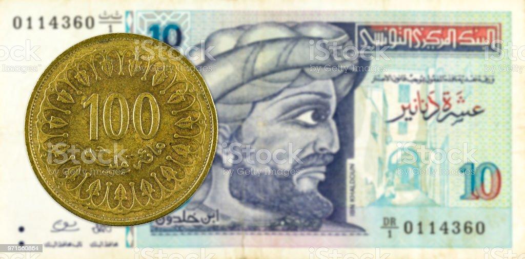 100 Tunesische Millimes Münze Gegen 10 Tunesischer Dinarbanknote