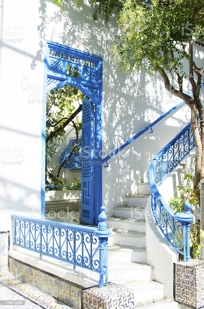 Tunisian street in Sidi Bou Said royalty-free stock photo