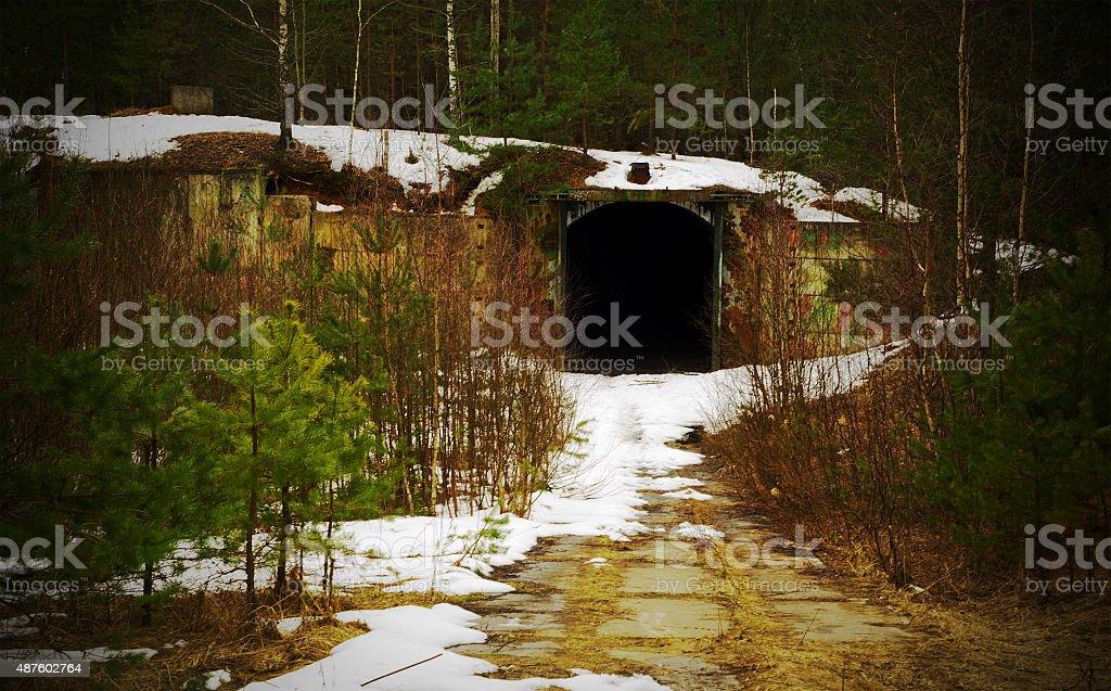 Tunnel. Abandoned military base stock photo