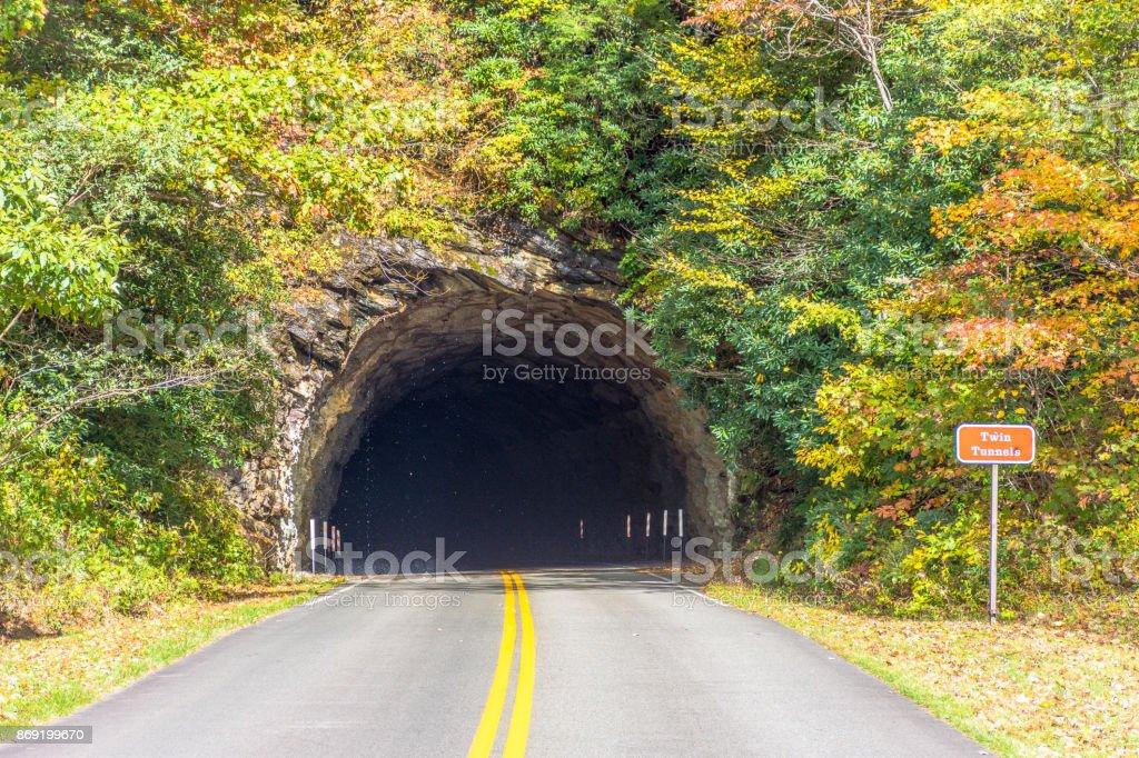 Tunnel ahead in North Carolina, USA stock photo