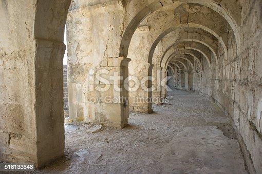 istock Tunnel amphitheater in Turkey. Aspendos. 516133646
