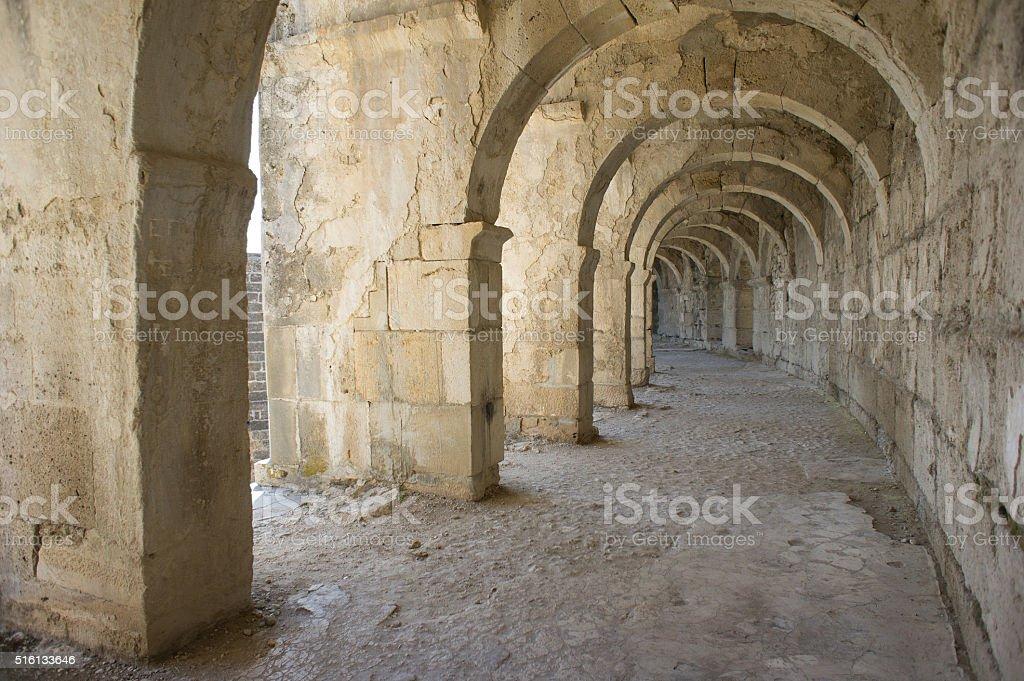 Tunnel amphitheater in Turkey. Aspendos. stok fotoğrafı